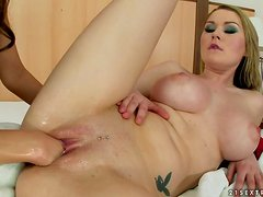 Amazing Antonya toys her pussy with a bat and gets fisted