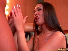 Girl in lace takes him deepthroat over and over