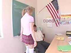 schoolgirl with pigtails having bang