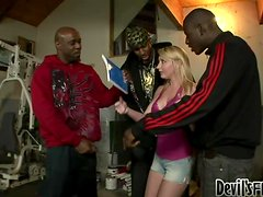 Horny blonde Missy Woods sucks and rides three BBCs