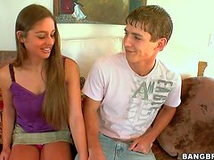 Cute long haired brunette Cathy Heaven in mini skirt and