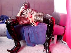 Ass self fist and dildo fucking in thigh boots and catsuit