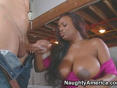 Jada Fire is a curvy dark skinned black MILF with