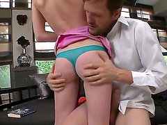 Innocent looking babe Alice F with pale skin and petite body got a powerful dick by Ian Scott
