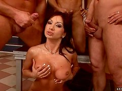 Stunning Lea Lexxis performs pole dance and gets fucked