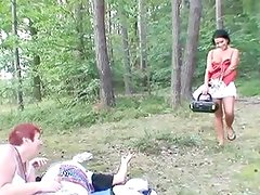 Dirty teen joins in an old couples session