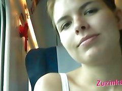 Zuzinka plays with dildo in a crowded train