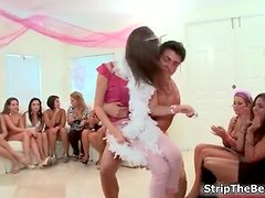 Horny group of party girls sucking male stripper dick