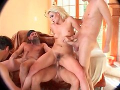 Hairy bitch fucked in all holes in gangbang