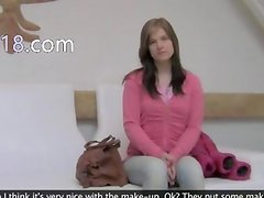 neat young girl having sex on white sofa