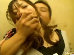 A horny Asian housewife is pounded by cock in an elevator.