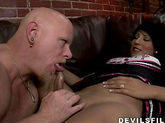 Adorable Transsexual Cheerleaders gets fucked on a sofa