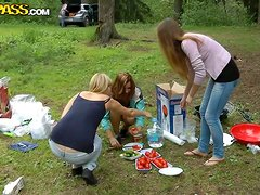 Hardcore Group Outdoors Sex with Beautiful Camping Girls