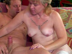 Mature blonde Bethany with natural tits is fuck hungry and