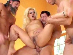 Blonde with wicked hairy pussy used by hard dicks