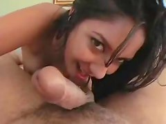 Hairy pussy rides dick POV