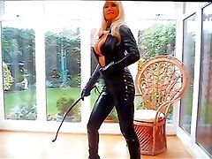 Lady Blondia in catsuit