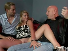 Jessi Stone gets her pussy licked and fucked by two bisexual dudes