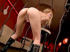 Arousing Sophie Moone pleases with her wonderful shaved pussy and amazing ass