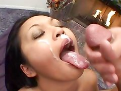 Mika Tan gets her face showered with warm cock juice