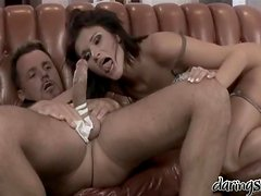 Sexy brunette in lingerie gets tenderly fondled and hotly fucked