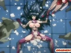 Bondage hentai with bigtits monster cock fucking and swallowing cum