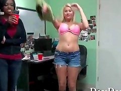A naughty blonde college girl double teamed in a dorm party