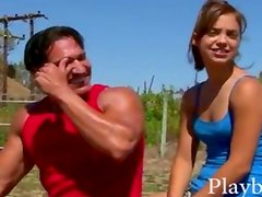 Flat chested latin girl Gigi Rivera sucks off and fucked outdoor