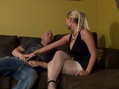 Delightful and bitchy blondie dominate over this bold guy