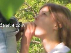 Teenagers copulating in the forest