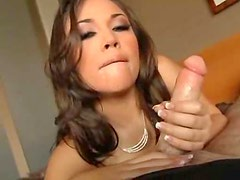 Sexy girl in naughty makeup sucks and strokes in POV