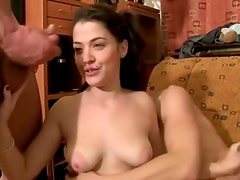 Teen strokes two guys to cumshots