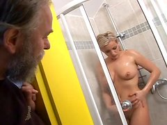Horny blonde chick getting fucked by dirty old man