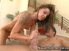 Skinny tattooed brunette Chayse Evans with long legs is his