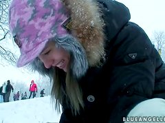 Having Fun During Winter with Hot Blonde Blue Angel