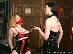 Hot Lesbian Strapon Fuck By Latex Clad Dominatrix Anastasia Pierce