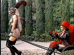 Lesbian slave's driving the carriage