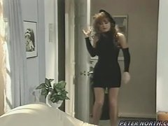 Retro video with hot girl with curly hair getting fucked and facialed