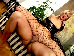 Black latex and fishnets on fuck slut