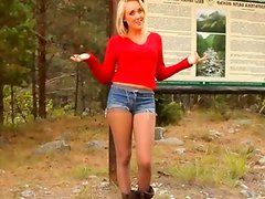 blondie babe in pantyhose teasing forest