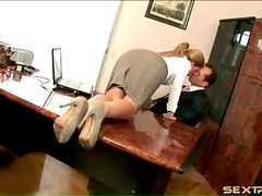 Brooklyn Lee in sexy office outfit sucks cock