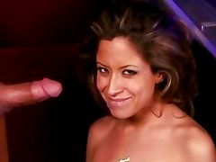 Nasty babe August gets her face plastered with warm cum