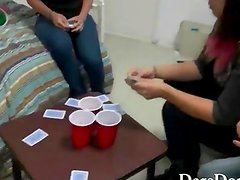 Group of college hotties playing strip poker and make out
