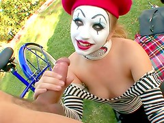 Mime fucked in a public park