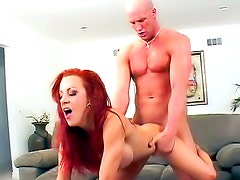 Fake tits redhead gets in the car