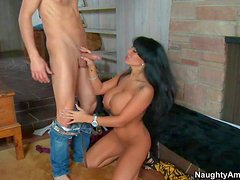 Dark haired and tanned honey Sienna West gets her hands