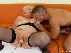 Blonde granny Sila gets her pussy toyed and fucked from behind
