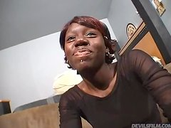 Sexy Ebony with Red Hair and Hairy Pussy Fucked in Interracial POV