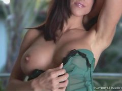Pretty Danielle Teal shows her great boobs in veranda