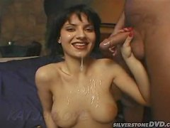 Sexy brunette babe gets high about fucking him